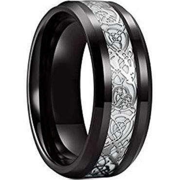 (Wholesale)Black Tungsten Carbide Dragon Ring - TG4744