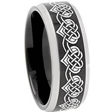 (Wholesale)Tungsten Carbide Heart Beveled Edges Ring - 4751