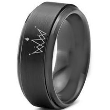 (Wholesale)Black Tungsten Carbide King Crown Ring-891