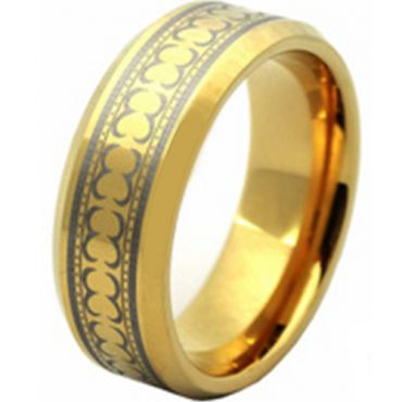 (Wholesale)Tungsten Carbide Celtic Beveled Edges Ring - TG2830AA
