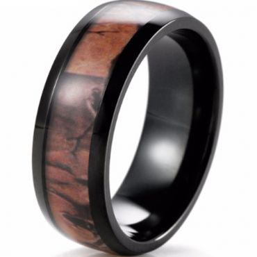 (Wholesale)Black Tungsten Carbide Camo Ring - TG3564