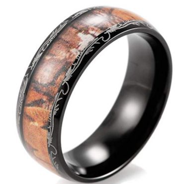 (Wholesale)Black Tungsten Carbide Damascus Camo Ring- 2337