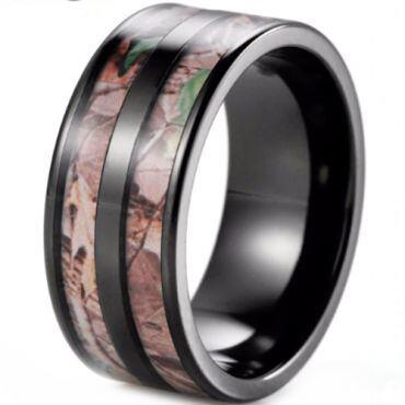 (Wholesale)Black Tungsten Carbide Camo Ring - 2811