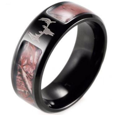 (Wholesale)Black Tungsten Carbide Camo Deer Head Ring - 2853