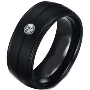 (Wholesale)Black Tungsten Carbide Ring Wth Cubic Zirconia-2857