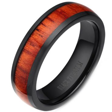 (Wholesale)Black Tungsten Carbide Wood Dome Court Ring - 2965