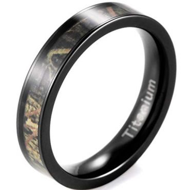 (Wholesale)Black Tungsten Carbide Camo Ring - 2967
