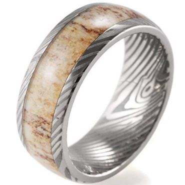 (Wholesale)Tungsten Carbide Damascus Deer Antler Ring - 3670