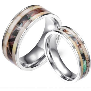 (Wholesale)Tungsten Carbide Deer Antler Camo Ring - 3652