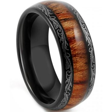 (Wholesale)Black Tungsten Carbide Wood Damascus Ring - TG4198AA