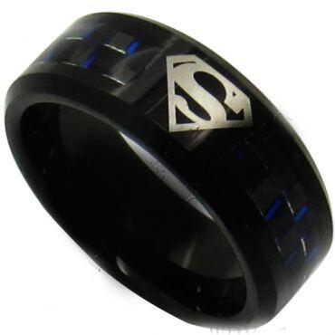 (Wholesale)Tungsten Carbide SuperMan Carbon Fiber Ring-873CC