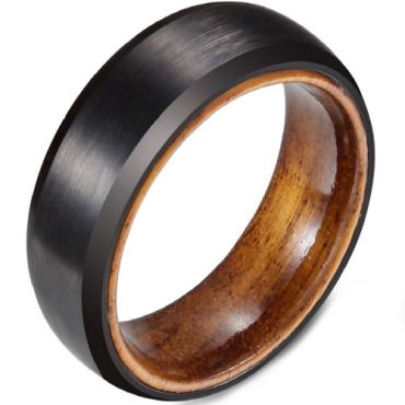 (Wholesale)Black Tungsten Carbide Wood Ring - TG4687