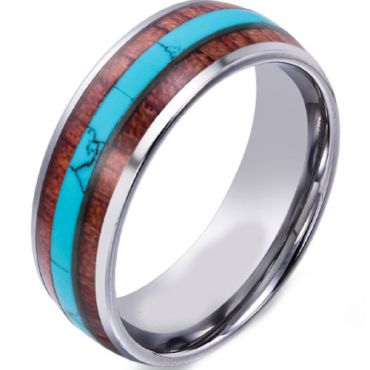 (Wholesale)Tungsten Carbide Imitate Turquoise & Wood Ring - TG46