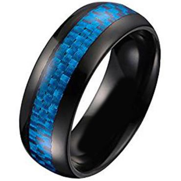 (Wholesale)Black Tungsten Carbide Carbon Fiber Ring-TG005AA