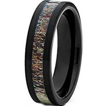 (Wholesale)Black Tungsten Carbide Deer Antler Ring - TG1063