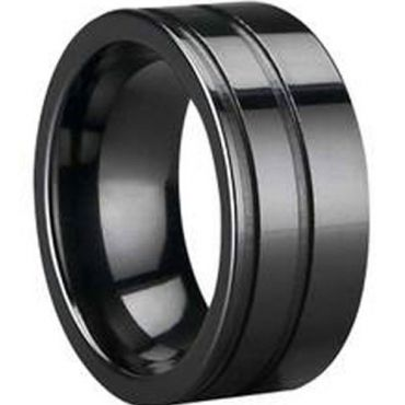 (Wholesale)Black Tungsten Carbide Double Groove Ring - TG1111