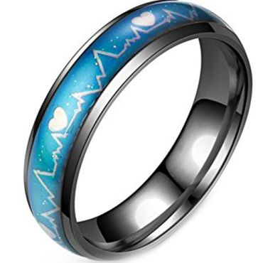 (Wholesale)Black Tungsten Carbide Heartbeat Inlays Ring - TG1120