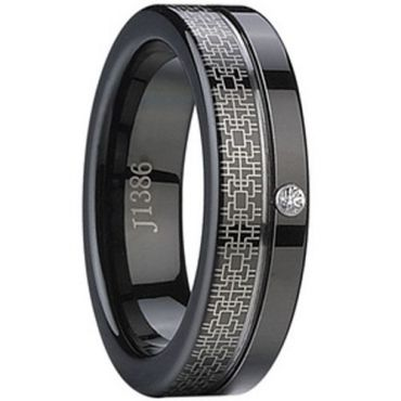 (Wholesale)Black Tungsten Carbide Ring With Cubic Zirconia -1124