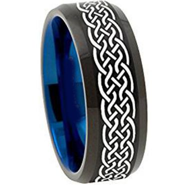 (Wholesale)Tungsten Carbide Black Blue Celtic Ring - 1135