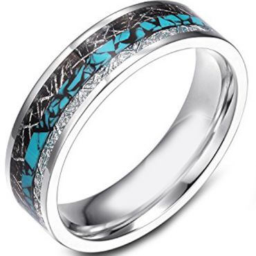 (Wholesale)Tungsten Carbide Imitate Turquoise Meteorite Ring-120