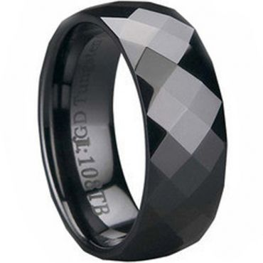 (Wholesale)Black Tungsten Carbide Faceted Ring - TG121
