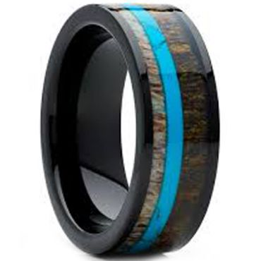 (Wholesale)Black Tungsten Carbide Deer Antler Turquoise Ring-122