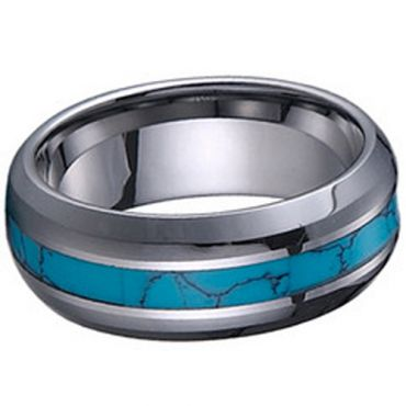 (Wholesale)Tungsten Carbide Imitate Turquoise Ring - TG1222