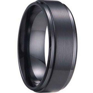 (Wholesale)Black Tungsten Carbide Step Edges Ring - TG1241