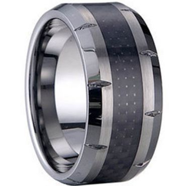 (Wholesale)Tungsten Carbide Ring With Carbon Fiber-TG1261