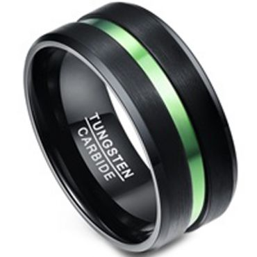(Wholesale)Tungsten Carbide Aluminum Black Green Ring-1356