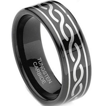 (Wholesale)Black Tungsten Carbide Infinity Ring - TG1356
