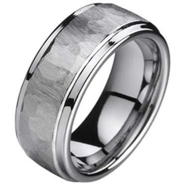 (Wholesale)Tungsten Carbide Hammered Ring - TG1367A