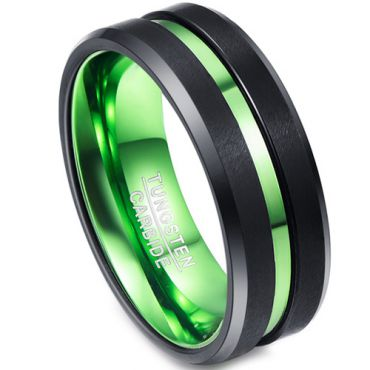 (Wholesale)Tungsten Carbide Aluminum Black Green Ring - TG138