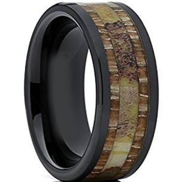 (Wholesale)Black Tungsten Carbide Deer Antler Wood Ring-1426AA