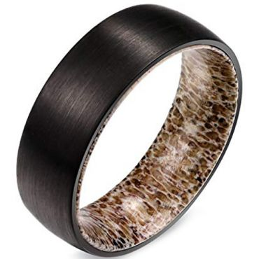 (Wholesale)Black Tungsten Carbide Deer Antler Ring - TG1426