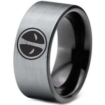 (Wholesale)Tungsten Carbide Pipe Cut DeadPool Ring - TG1437