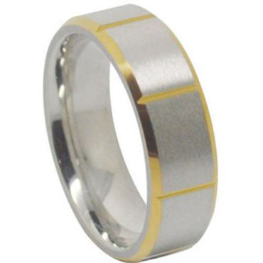 (Wholesale)Tungsten Carbide Beveled Edges Ring - TG1441A