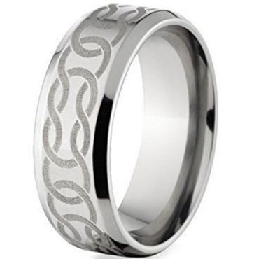 (Wholesale)Tungsten Carbide Celtic Beveled Edges Ring - TG148