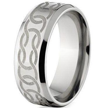 (Wholesale)Tungsten Carbide Celtic Beveled Edges Ring - TG148