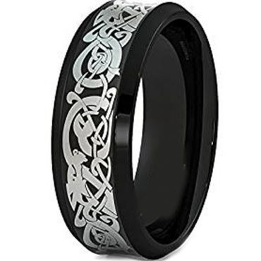 (Wholesale)Black Tungsten Carbide Concave Dragon Ring-TG1500AA