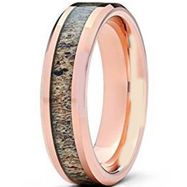 (Wholesale)Rose Tungsten Carbide Deer Antler Ring - TG1507A