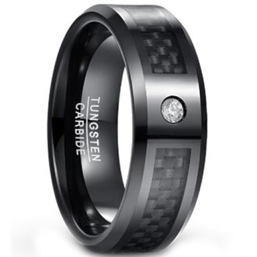 (Wholesale)Black Tungsten Carbide Carbon Fiber Ring-1567