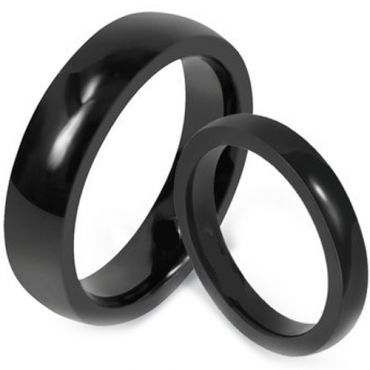 (Wholesale)Black Tungsten Carbide Dome Court Ring - TG1619