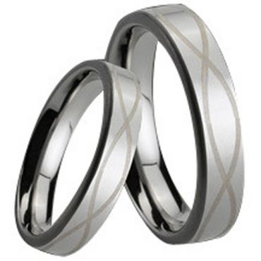 (Wholesale)Tungsten Carbide Pipe Cut Infinity Ring - TG161