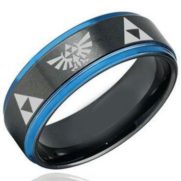 (Wholesale)Tungsten Carbide Black Blue Legend of Zelda Ring-1625