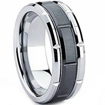 (Wholesale)Tungsten Carbide Brick Pattern Ring - TG1637AA