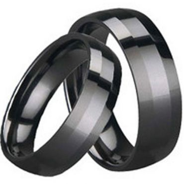 (Wholesale)Black Tungsten Carbide Beveled Edges Ring - TG1647