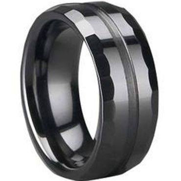 (Wholesale)Black Tungsten Carbide Faceted Ring - TG1664