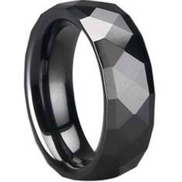 (Wholesale)Black Tungsten Carbide Faceted Ring - TG1665