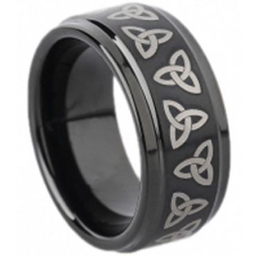 (Wholesale)Black Tungsten Carbide Trinity Knot Ring - TG1673
